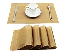 Homcomoda Vinyl Golden Placemats Heat Resistant Dining Table