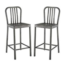 Modway Viscount Fabric Dining Chairs in Gray - Set of 2