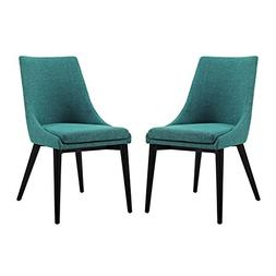 Modway Viscount Fabric Dining Chairs in Teal - Set of 2