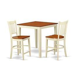East West Furniture VNGR3-WHI-W 3 Piece Counter Height Dinin