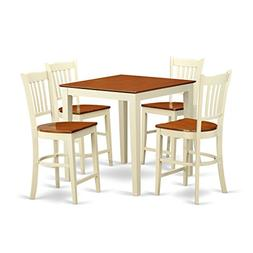 East West Furniture VNGR5-WHI-W 5 Piece Pub Table and 4 Coun