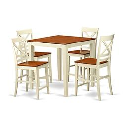 East West Furniture VNQU5-WHI-W Counter Height Dining Table
