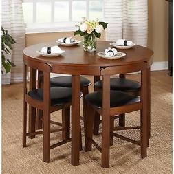 Walnut Finish 5 Piece 4 Chairs Oak Wood Compact Round Dining