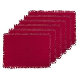 DII Washable Heavyweight Fringed Cotton Placemat, Set of 6,