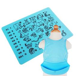 VECELO Waterproof Baby Bib Silicone and Baby Placemat Set of