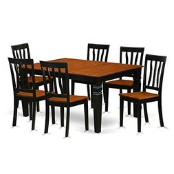 East West Furniture Weston WEAN7-BCH-W 7 Pc Set Table and 6