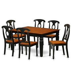 East West Furniture Weston WEKE7-BCH-W 7 Pc Set with a Kitch
