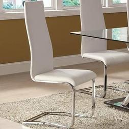 White Faux Leather Dining Chairs with Chrome Legs