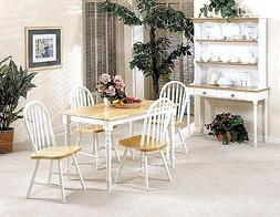 5pc White & Natural Finish Wood Dining Table +4 Windsor Chai