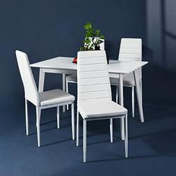 Aingoo White Kitchen Chairs Set of 4 Dining Chair Black with