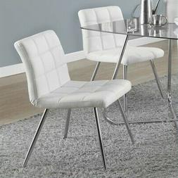 Monarch Specialties White Leather-Look & Chrome Metal Dining