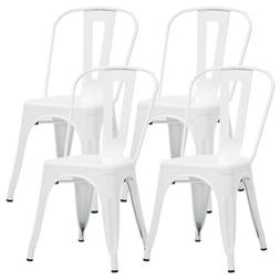 White Metal Dining Café Chair Set of 4 Armless Kitchen Chai