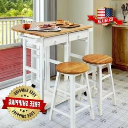 White Wooden Kitchen Breakfast Cart Set Dining Table Stools