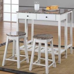 White Wooden Marble Top Kitchen Breakfast Cart Set Dining Ta