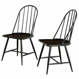 Windsor Mixed Media Dining Chair, Set of 2, Black/Espresso
