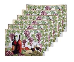 Set of 6 Wine Table Fabric Placemats with Grapes and Leaves