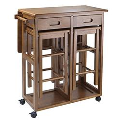 WinsomeTrading 39330 Space Saver with 2 Stools Square - Teak