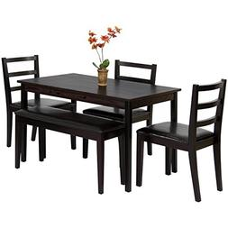 Best Choice Products 5-Piece Wood Dining Table Set w/Bench,