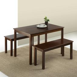 Wood Dining Table with 2 Benches, 3-Piece Set Espresso Finis