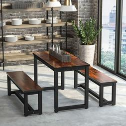 Dinning Table Set with Two Benches 3-Piece Rustic Rectangula
