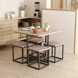 HOMCOM 5 Piece Wood Steel Space Saving Dining Room Table Set