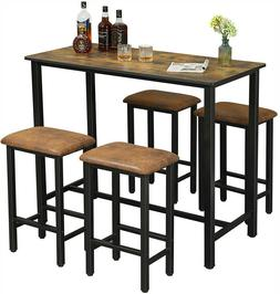Wooden Bar Stools Dining Table Set Counter Height 4 pcs Chai