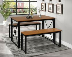 Wooden Dining Table Set w/Two Benches Seats  and Kitchen Tab