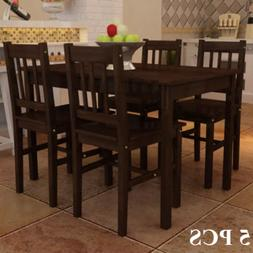 Wooden Dining Table Set with 4 Chairs Kitchen Dining Room Ho