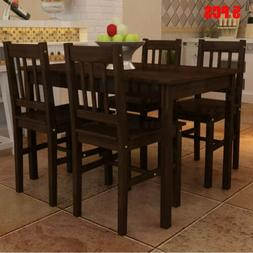 wooden dining table set with 4 chairs