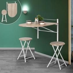Framodo 3 pcs Wooden Kitchen Dining Table Set Wall-Mounted D