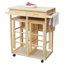 Wooden Rolling Kitchen Trolley Cart 3-Piece Table Dining Set