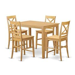 East West Furniture YAQU5-OAK-W 5 Piece Pub Table and 4 Coun