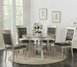 ZANDRA 5PC ROUND METALLIC SILVER FINISH WOOD GLASS TOP LEATH