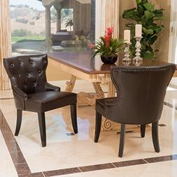 GDF Studio Zatgan Brown Leather Tufted Dining Chair