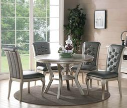 ZEYNA 5PC ROUND PLATINUM SILVER FINISH WOOD DINING ROOM TABL